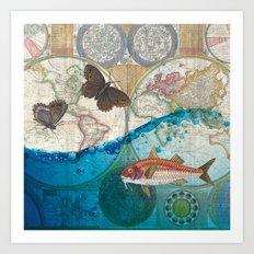 Fish And Butterflies Art Print