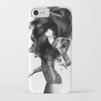 feathers iPhone & iPod Cases featuring Bear #3 by Jenny Liz Rome