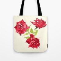 Three Red Roses Tote Bag