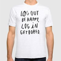 LOG OUT Mens Fitted Tee Ash Grey SMALL