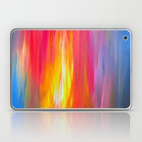 BRIGHT HORIZONS Bold Colorful Rainbow Pink Yellow Blue Abstract Painting Sunrise Sunset Stripes  Laptop & iPad Skin