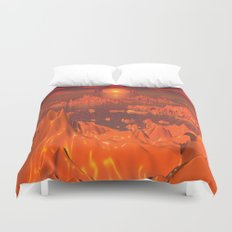 Space Islands of Orange Duvet Cover