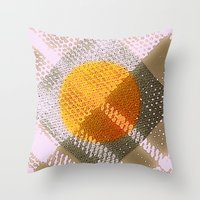 Orange Plaid Throw Pillow