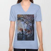 Autumn Rain - Watercolor Unisex V-Neck