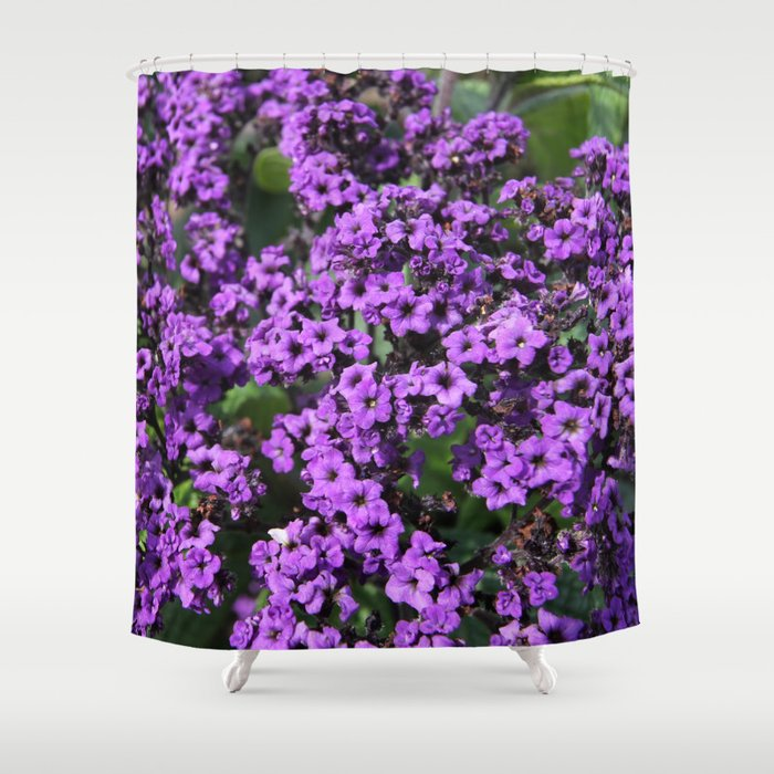 intriguing purple flowers shower curtain by christine aka