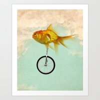 unicycle gold fish -2 Art Print