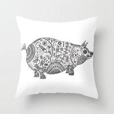 Doodle Pig Throw Pillow