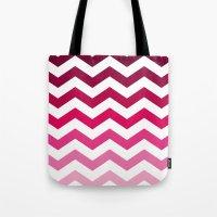 Pink Ombre Chevron Tote Bag