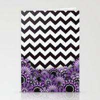 Purple Flower Chevron Stationery Cards