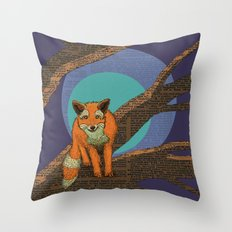 Fox at night Throw Pillow