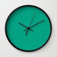 Tribal In Teal Green Wall Clock