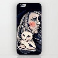 Girl and cat iPhone & iPod Skin