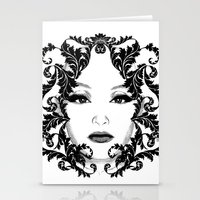 Black and white floral face ornament Stationery Cards