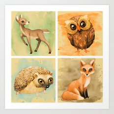 Woodland Set Art Print