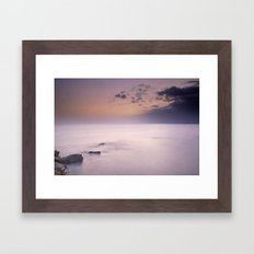 Purple sunset at the storm Framed Art Print