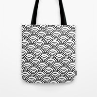 Waves All Over - Black A… Tote Bag