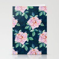 Simple Pink Rose Oil Painting Pattern Stationery Cards