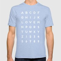 Letter Love - Black Mens Fitted Tee Tri-Blue SMALL