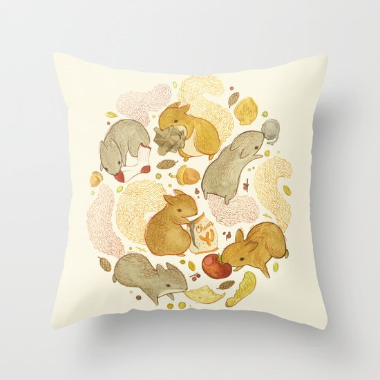 Things Squirrels Probably Shouldn't Be Eating Throw Pillow