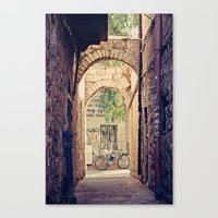 Jerusalem Alley with Bicycle Canvas Print