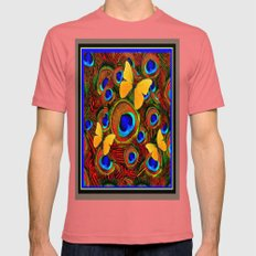 Yellow Butterflies on Peacock Feather Eye Patterns Mens Fitted Tee Pomegranate SMALL