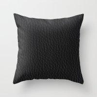 Black Leather case Throw Pillow