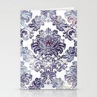 Blueberry Damask Stationery Cards