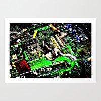 Digital Electrons Art Print