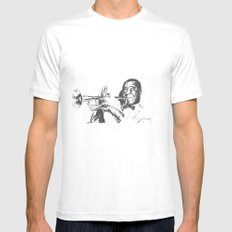 Louis Armstrong, Satchmo or Pops Mens Fitted Tee White SMALL