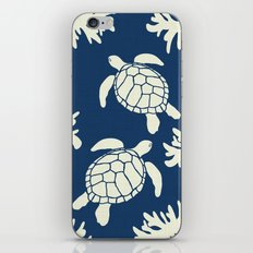 Sea Turtles on Indigo Linen iPhone & iPod Skin