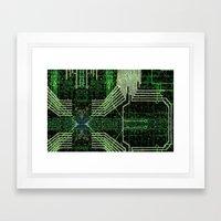 Circuit board very green zoom Framed Art Print