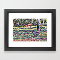 Horses And Hens In A Fie… Framed Art Print