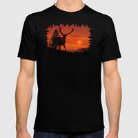 Deer on a hill Mens Fitted Tee Black SMALL