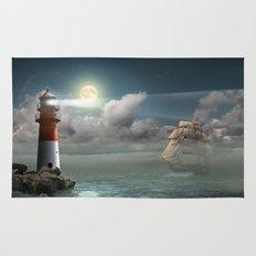 Lighthouse Under Back Light Rug