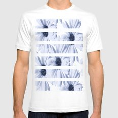 Light Blue Daisies with White Stripes Mens Fitted Tee White SMALL