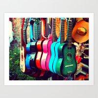 las guitarras. spanish guitars, Los Angeles photograph Art Print