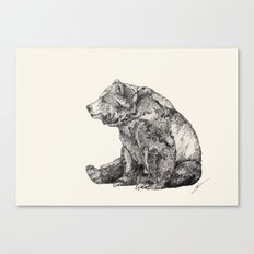 Bear // Graphite Canvas Print