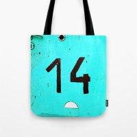 Turqoise Number Fourteen Tote Bag