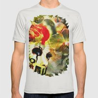 Retro Look Mens Fitted Tee Silver SMALL