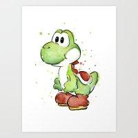 Yoshi Watercolor Mario Art Print