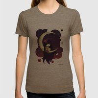 Golden Butterfly Moon Womens Fitted Tee Tri-Coffee SMALL