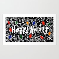 Happy Holiday Lights Art Print