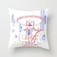 Mariachi In The Desert Throw Pillow