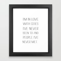 I'm In Love With Cities. Framed Art Print