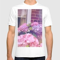 Hydrangeas Mens Fitted Tee White SMALL