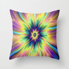Combustion in Yellow Turquoise and Blue Throw Pillow