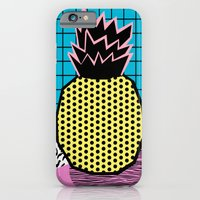 iPhone Cases featuring Grindage - pineapple fruit tropical pattern memphis style art print bright neon 1980 1980's 80's 80s by Wacka
