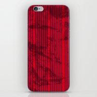 Grunge Blue stripes on bold red background illustration. iPhone & iPod Skin