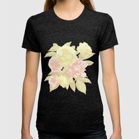 Floral Design Womens Fitted Tee Tri-Black SMALL