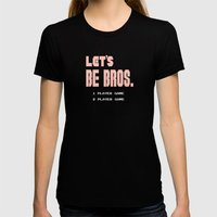 Let's be Bros Womens Fitted Tee Black SMALL